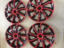 "4PC Set Hub Cap  RED / BLACK TRIM 15"" Inch for Rim Wheel Cover Caps Covers"