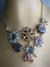 BETSEY JOHNSON STARGAZER SPARKLEY CRYSTAL BEAD & FLOWER CHARM NECKLACE~NWT