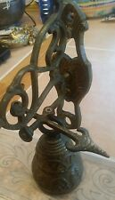 VINTAGE large brass door knocker etched Bell