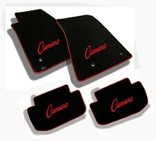 NEW! 1967-1969 Camaro Floor Mats Black Set Carpet Embroidered Logo Red Binding A