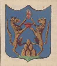1865 Stemma di Montecatini Val di Nievole pistoia litografia acquarellata
