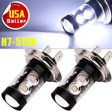 2x Cool White 50W H7 LED High Power Car Fog Daytime Running Light Bulbs 1200LM