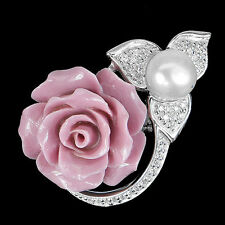 GORGEOUS!NATURAL CREAMY WHITE PEARL STERLING 925 SILVER FLOWER RING SIZE 6