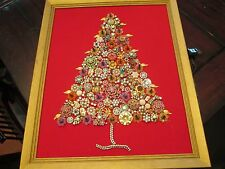 Vintage  costume Jewelry Framed CHRISTMAS TREE folk art lighted