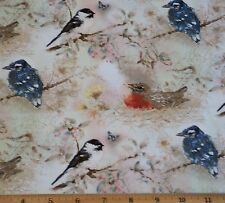 Birds Garden Melodies Fabric 23in Remnant Cotton Robin Chickadee Blue Jay