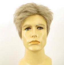 Perruque homme 100% cheveux naturel blanc méché gris ref BENOIT 51