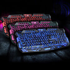 M200 3 backlits LED COLORI USB cablato Gaming Tastiera con effetto craquelè ROSSO BLU VIOLA