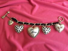 Betsey Johnson Vintage Dollhouse Black White Pearl Heart Lips BE MINE Bracelet