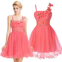 Pretty Short Pink Evening Bridesmaid Party Dress Cocktail Wedding Ball Gown New