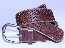 VINTAGE BELT GENUINE FOSSIL LEATHER w/STUDS SIZE S BEAUTIFUL PUNCH DESIGN