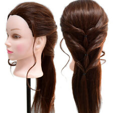 Real Human Hair Cosmetology Hairdressing Training Head Mannequin Model + Holder