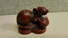 Rat And Fruit or Nut Handwork Carved Wood Talisman Netsuke Japanese Chinese