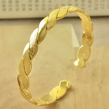 Gorgeous 24K Yellow Gold Filled Frosted Women's Cuff Bangle Twisted Bracelet