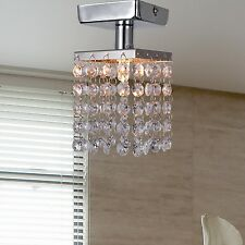 US SALE Chrome Mini Semi Flush Mount Crystal Chandelier Pendant Ceiling Lighting