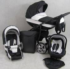 Pram - Pushchair Baby 3IN1 LEATHER  +FREE Carseat + Accessories - Black et White