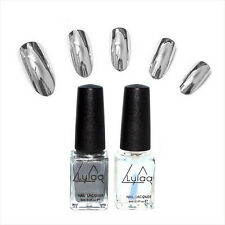 Fashion Womens Metallic Magic Mirror Nail Art Polish Varnish & Base Coat DIY L7S