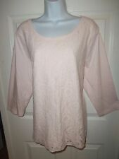 CHICO'S ROUND NECK PULLOVER TOP SZ 3 OR XL COTTON MODAL LIGHT PINK LACE FRONT