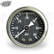 "60 PSI Oil Pressure Gauge Carbon Fiber Style with 1/8"" NPT Male Fitting"