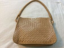 Bottega Veneta Intrecciato Wrapped Strap Square Shoulder Bag Tan Leather