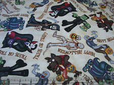 1 Yard Quilt Cotton Fabric- RJR A Haunting We Will Go Halloween Monsters Cream