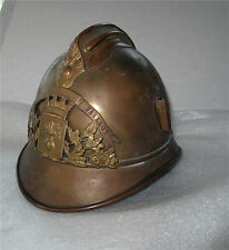 FRENCH  PRE WW I BRASS HELMET SAPEURS POMPIERS ADRIAN TYPE WITH LINER, GAILLON