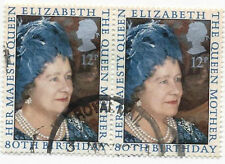 GB Stamps SG1129. 1980. The Queen Mothers 80th Birthday. Used Pairs