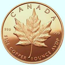 1 NEW 1 Oz  999 Fine Copper Bullion Rounds Canada Maple Leaf Coin Guns Reverse