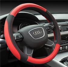 Microfiber Soft Leather Black & Red Fiber Car Steering Wheel Cover 38CM