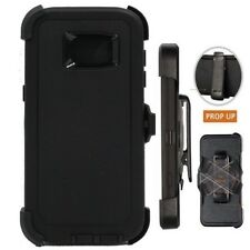 Samsung Galaxy S7 Edge Black Defender Case Cover [ Belt Clip Fits Otter Box ]
