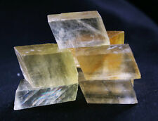 220g 7Pcs CLEAR Rainbow Cubic Calcite/Iceland Spar Crystals Mineral Specimen!