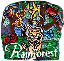 """RAINFOREST"" w/Monkeys,Tiger, Snake,Parrot - Iron On Patch/Animals, Zoo, Jungle"