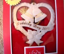 Lenox 2013 Wedding Day Bells & Heart Ceramic Christmas Tree Ornament NEW $40