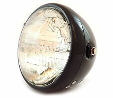 "7"" Custom Side Mount Motorcycle Headlight - Gloss Black - Clear"