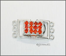 Sterling Silver 3 Strand Rectangle Push Clasp w/ CZ Orange Red #51298