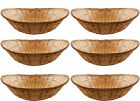 6 x Vintage Oval Natural Bamboo Wicker Bread Basket Storage Hamper Display Trays