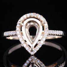 Solid 14K Yellow Gold Pear Shape 10x6mm Engagement Diamond Semi Mount New Ring