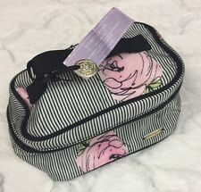 Victoria's Secret Cosmetic Makeup Jewelry Bag Secret Garden Love Spell Striped