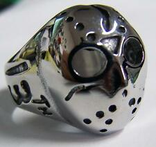 JASON MONSTER DEATH MASK STAINLESS STEEL RING size 13 silver metal S-531 biker