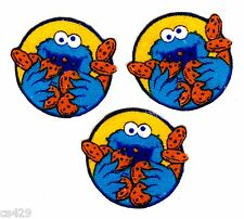 SESAME STREET COOKIE MONSTER CIRCLES SET CHARACTER FABRIC APPLIQUE IRON ON