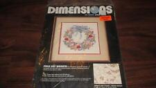 Dimensions Folk Art Wreath Cross Stitch Kit Sealed New 1987 Vintage
