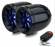 Waterproof Motorcycle ATV Stereo Speaker Anti-Theft Alarm System MP3 Audio Black