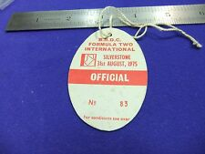 vtg card silverstone circuit pass official 83 brdc 1975 formula two racing motor