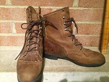 Justin 575 Lace Up Leather Kiltie Western Ankle Roper Boots Women's US 7.5 B