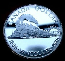 RARE Frosted PROOF SILVER DOLLAR 1986 CANADA 100th Anniversary of VANCOUVER