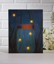 Firefly Jar Lighted Picture flickering lightening bugs Radiance Canvas 38404 NEW