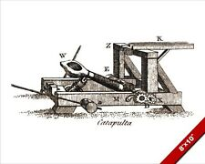 CATAPULT WAR MACHINE TECHNICAL DRAWING ENGRAVING PAINTING REAL CANVASART PRINT