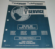 Parts Catalog OMC Evinrude Johnson Outboards 20 25 30 Rope AC Models Mai 1992!