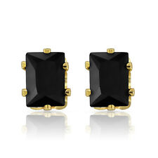 Mahi Gold Plated Sensual Black Earrings With CZ Stones ER1108706GBla