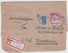 Bizone/Bauten, Mi. 94wg, Not-R-Zettel Frankfurt/M. 1, Briefteil