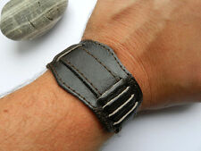 18mm MILITARY Style Men's Dark BROWN LEATHER BAND Cuff Pilot for Vintage Watches